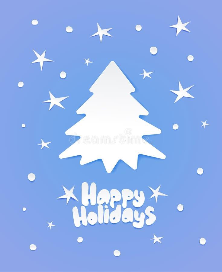 圣诞树和字法与愿望 库存例证
