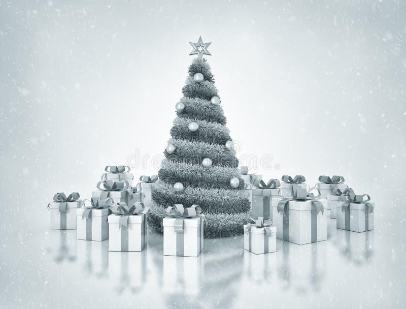 圣诞树和存在 库存例证