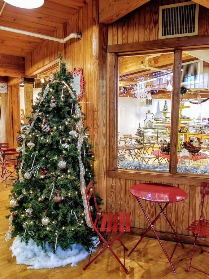 圣诞树和就座 库存照片