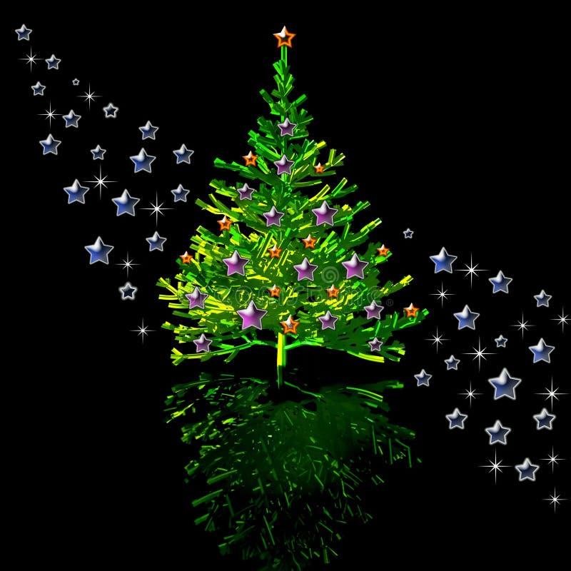 圣诞树和星形 库存例证