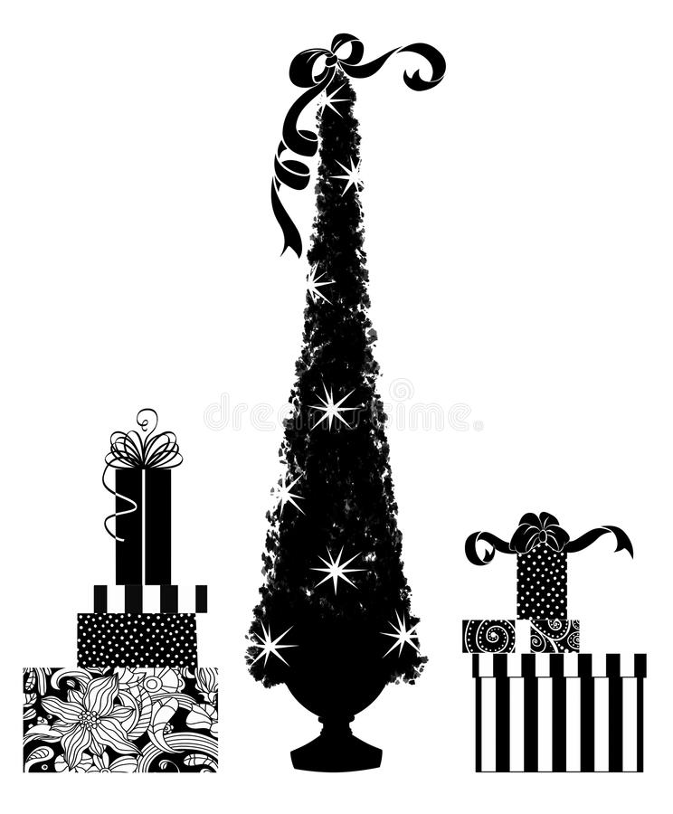 圣诞树和礼物的逗人喜爱的剪影 向量例证