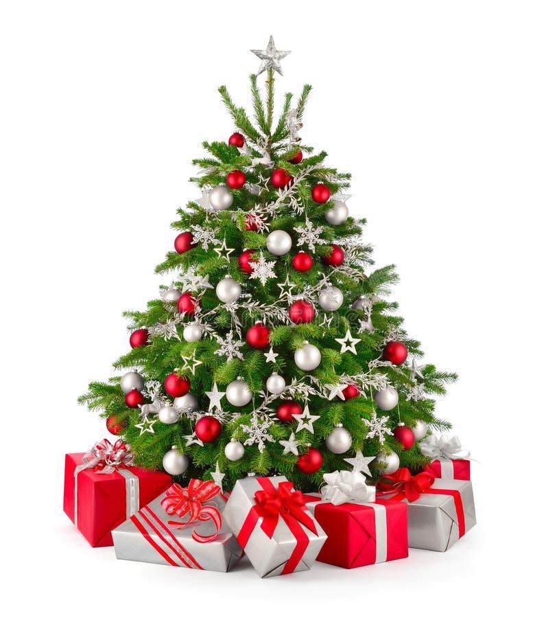 圣诞树和礼物,在红色和银 库存照片