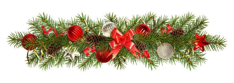 圣诞树和装饰的常青枝杈在欢乐 免版税图库摄影