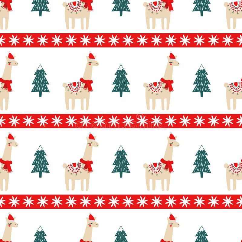 圣诞树和逗人喜爱的喇嘛有xmas帽子无缝的样式的 库存例证