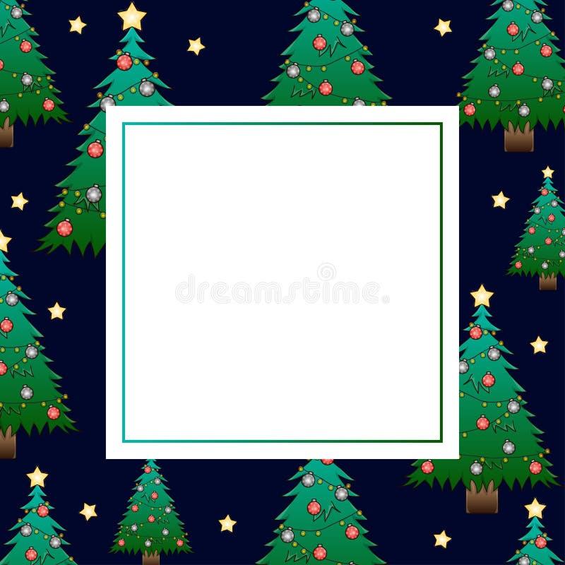 圣诞树和金黄星在深蓝夜空横幅卡片 也corel凹道例证向量 皇族释放例证