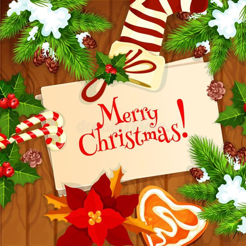 圣诞树和xmas长袜贺卡 向量例证