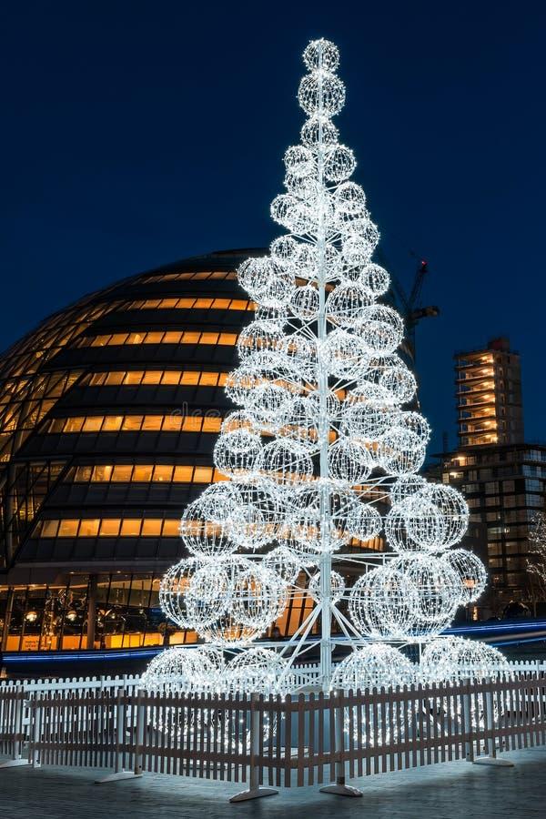 圣诞树在伦敦香港大会堂 库存图片