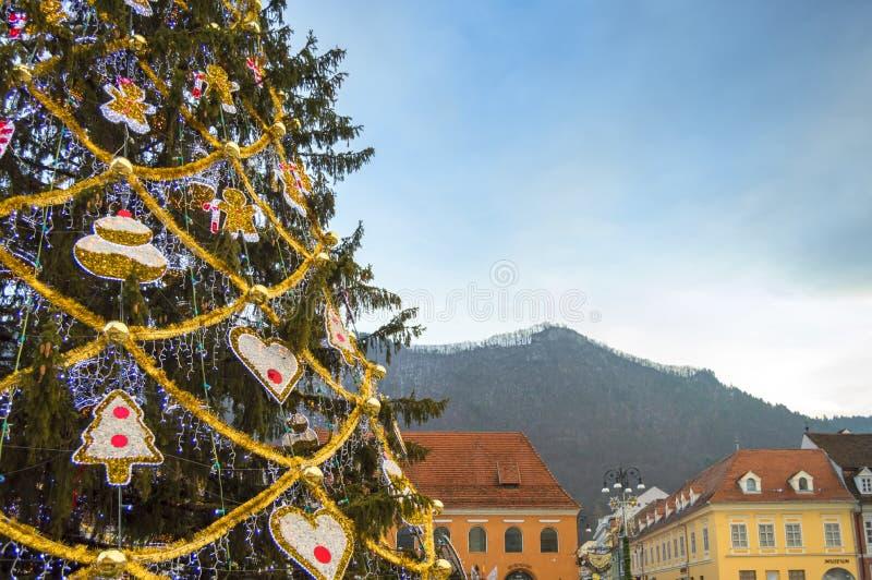 圣诞树在布拉索夫的中心,有往坦帕山的一个看法 免版税库存照片
