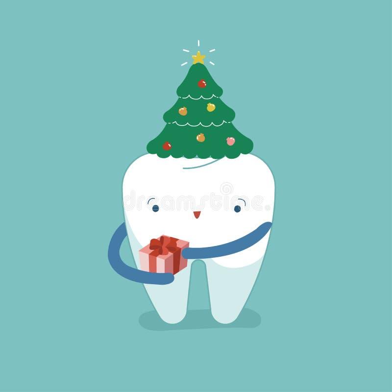 圣诞树在牙,圣诞节节日的` s帽子牙齿 库存例证