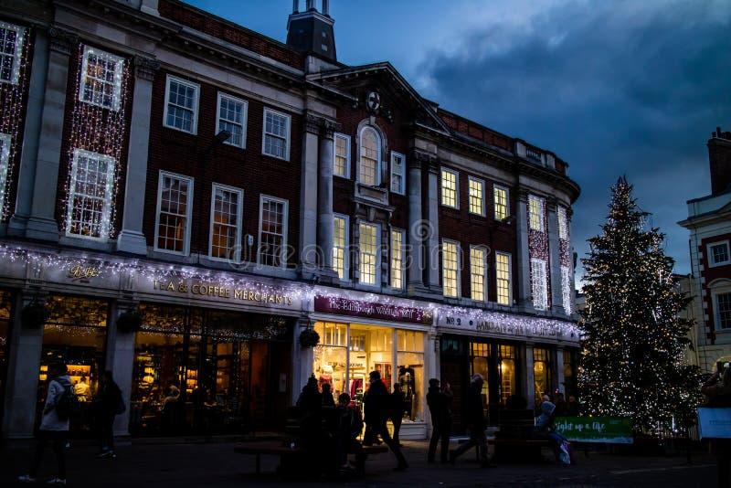 圣诞树在约克,英国 免版税库存照片