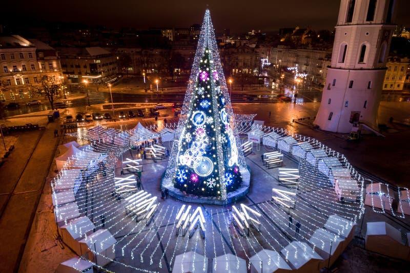 圣诞树在维尔纽斯,立陶宛 一最好和beauti 库存图片