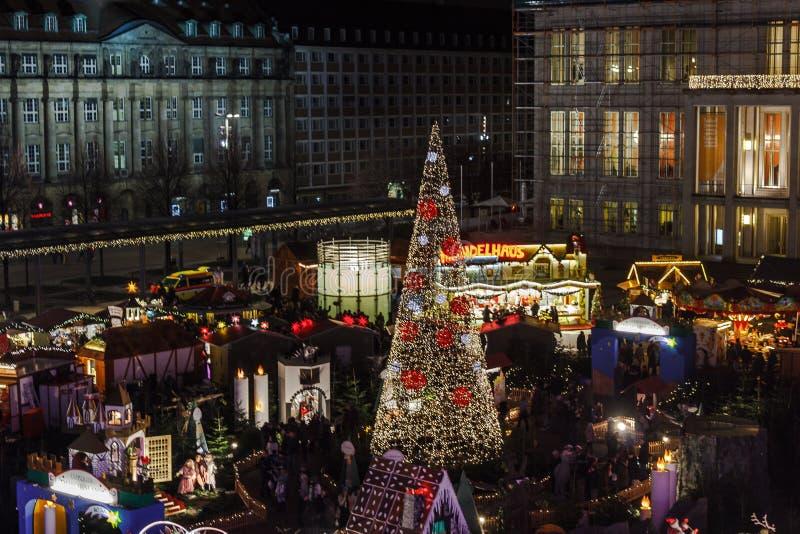 圣诞树在莱比锡 免版税库存照片