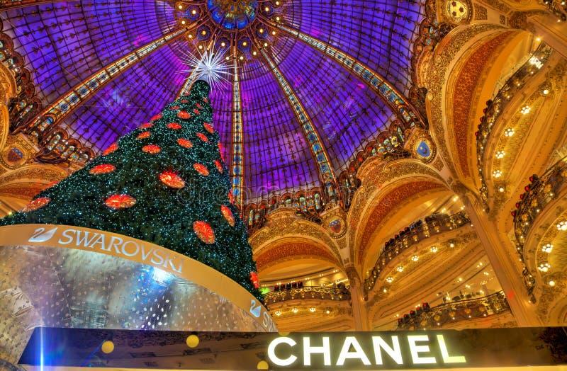 圣诞树在Galeries拉斐特,巴黎 库存图片