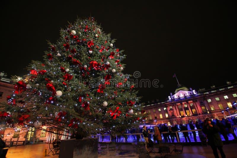 圣诞树在Sommerset之家里 库存图片