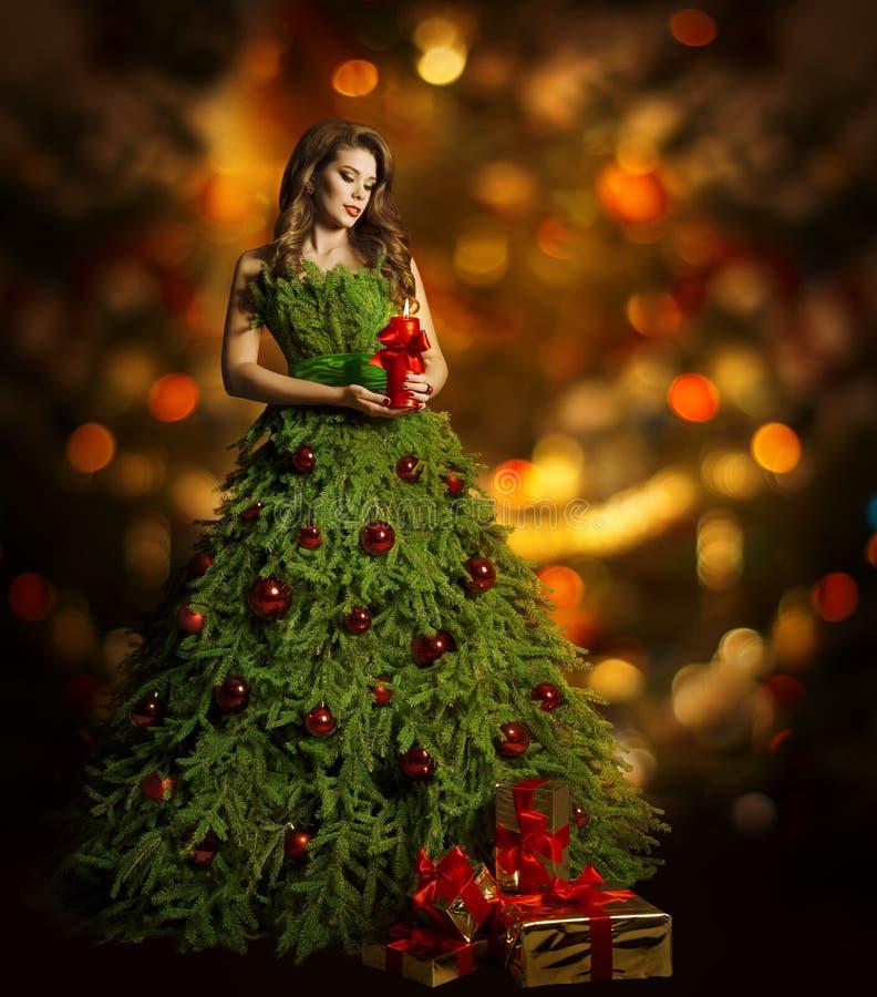 圣诞树妇女时尚礼服,式样女孩, Xmas光 库存图片