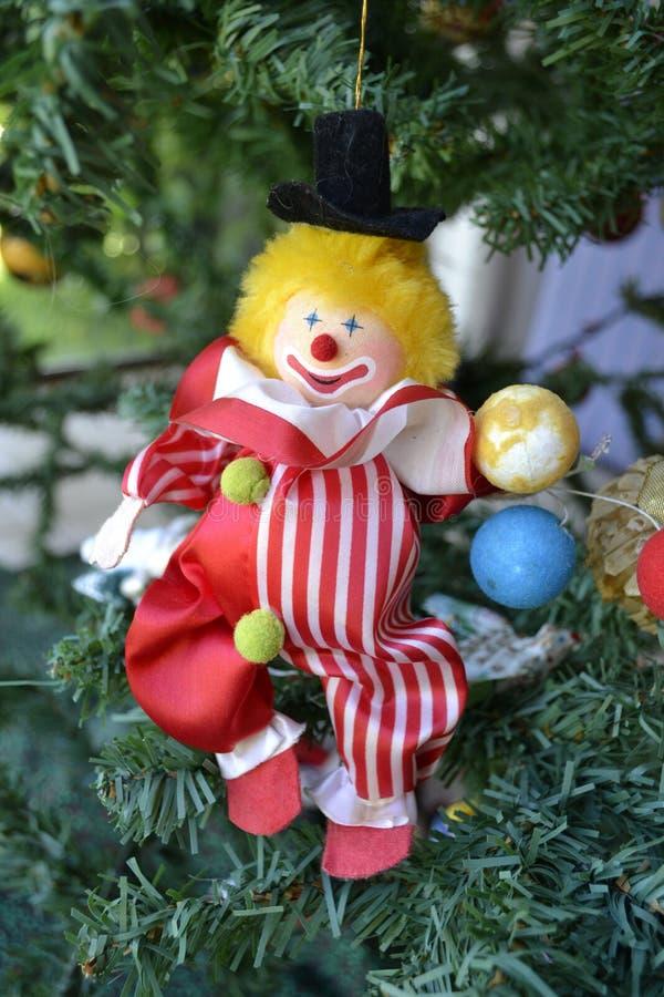 圣诞树小丑玩具装饰 库存照片