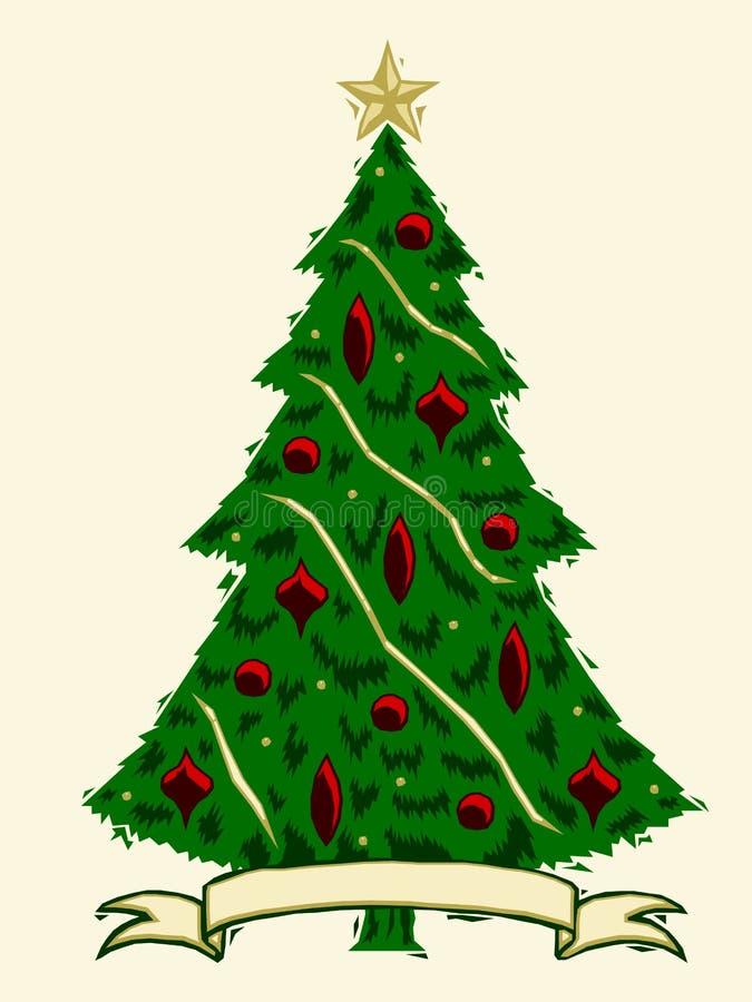 圣诞树木刻 库存例证