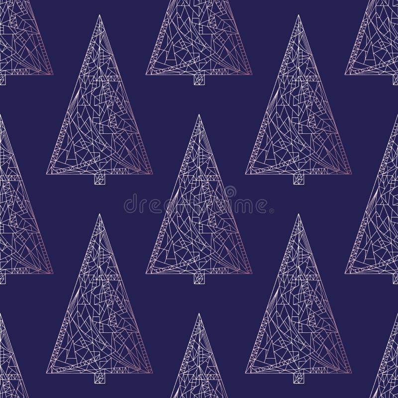 圣诞树样式 抽象Xmas树无缝的背景 墙纸的,包装纸, tex寒假纹理 向量例证