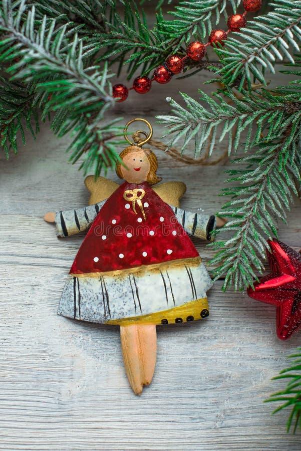 圣诞树玩具圣诞节天使 免版税库存图片