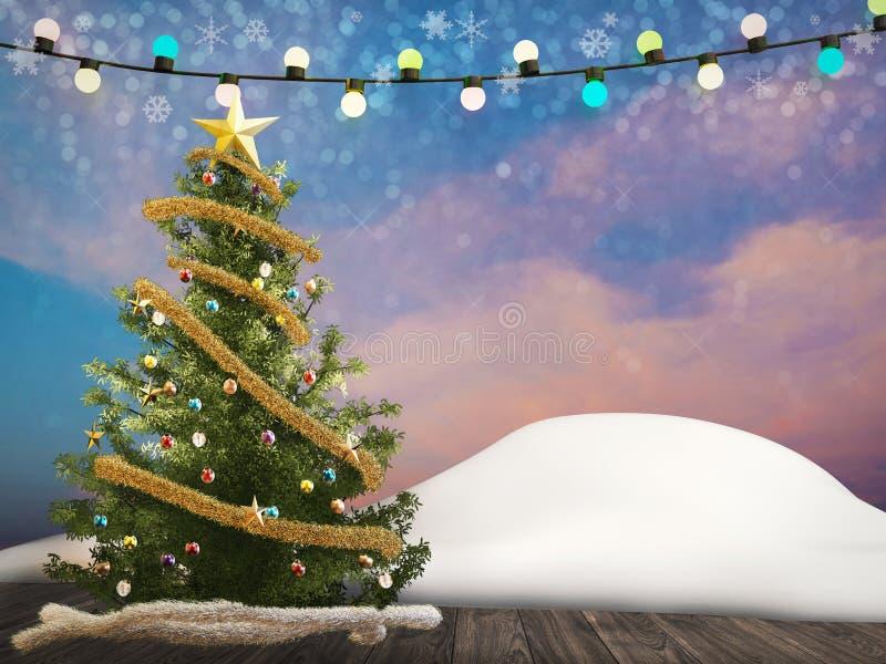 圣诞树用圣诞节装饰品装饰 皇族释放例证