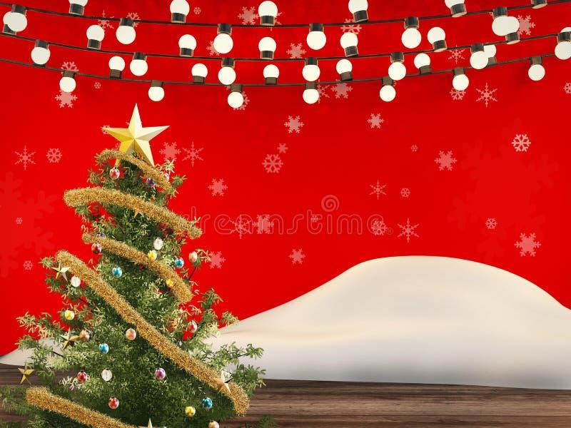 圣诞树用圣诞节装饰品装饰 库存例证