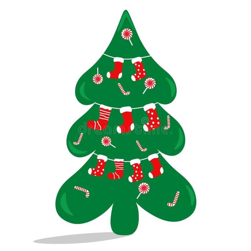 圣诞树用甜点和袜子装饰 平的传染媒介例证 库存照片