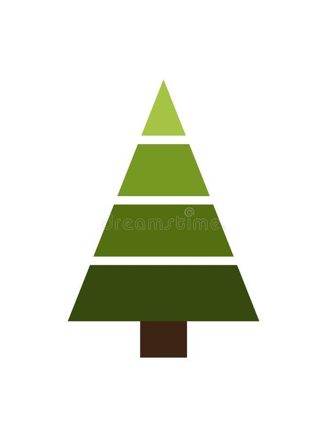 圣诞树由几何形状传染媒介制成 库存例证