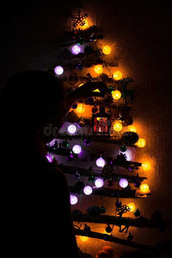 圣诞树由分支做成 免版税库存图片
