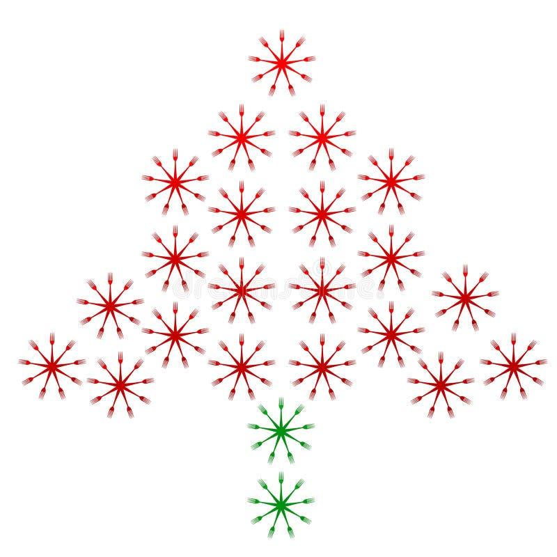 圣诞树由叉子做成 库存例证