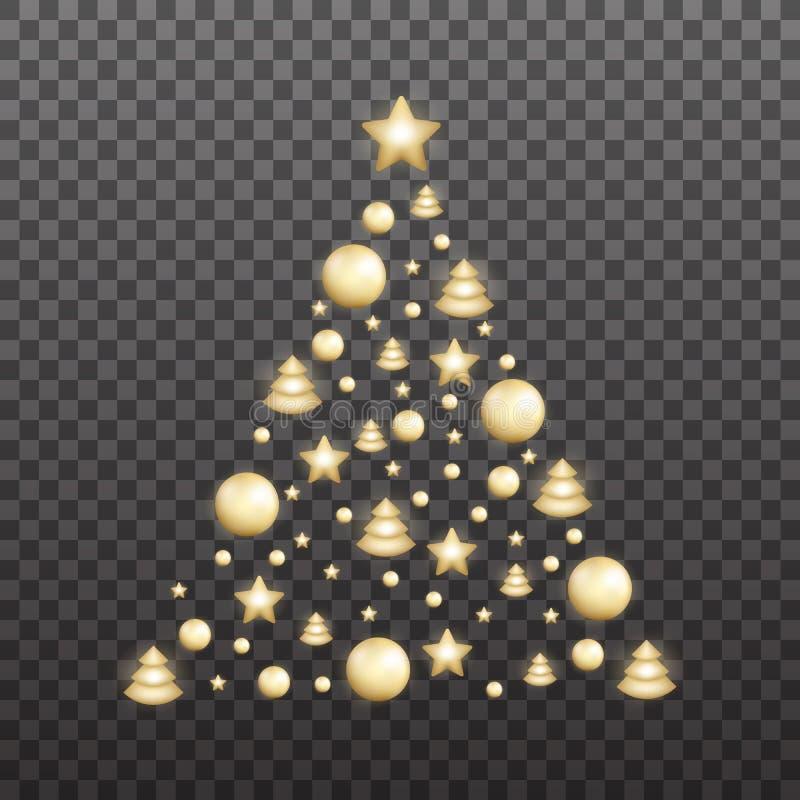 圣诞树由发光的金装饰做成 发光的Xmas球在圣诞树形状收集 库存例证