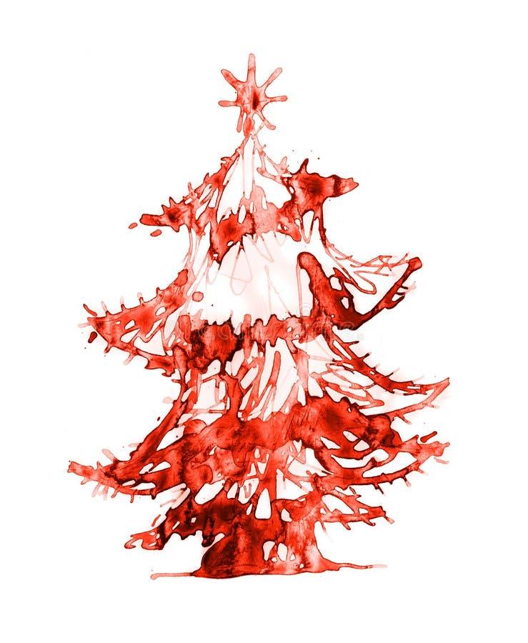 圣诞树由水彩制成 向量例证