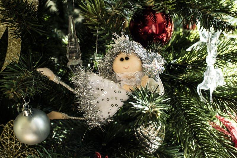 圣诞树的一位神仙 库存照片