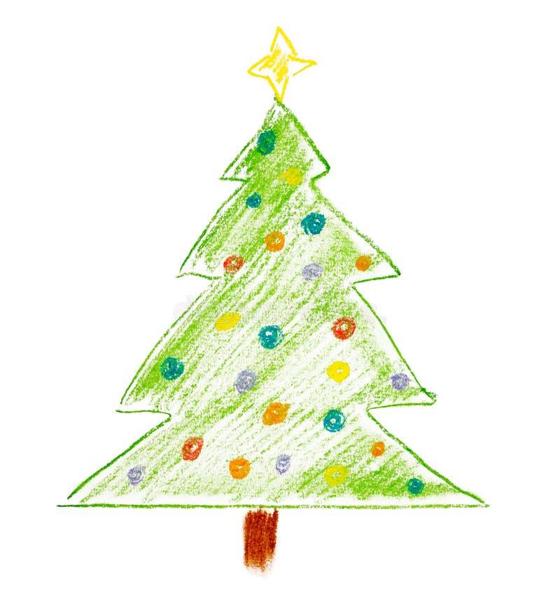 圣诞树的粉笔画 免版税库存照片