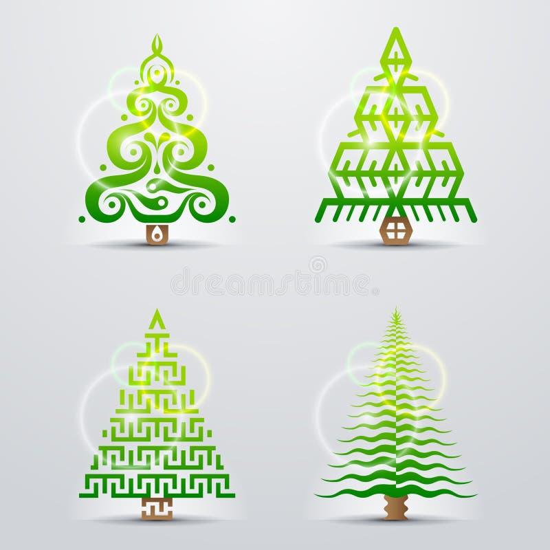 圣诞树的风格化标志 库存例证