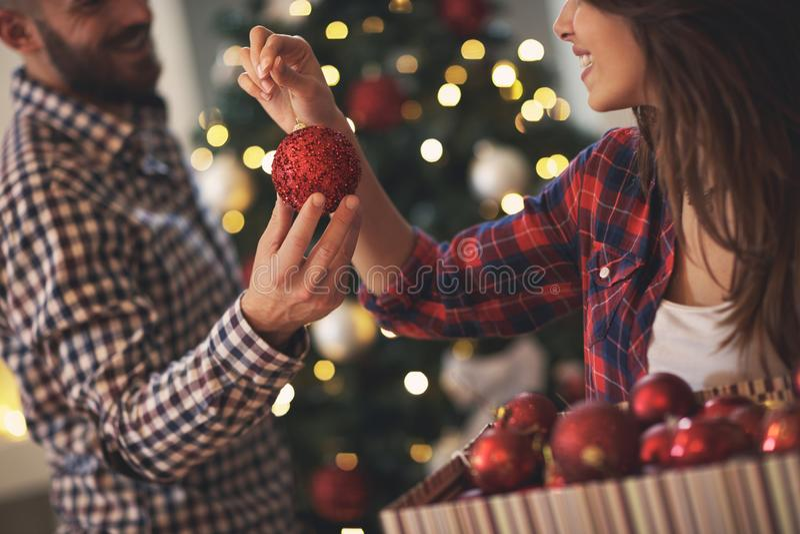 圣诞树的,概念的关闭装饰品 库存图片