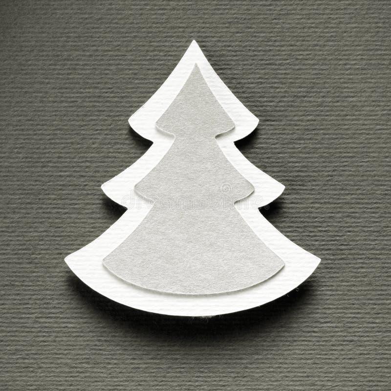 圣诞树纸切口设计葡萄酒黑白照片卡片 免版税库存图片