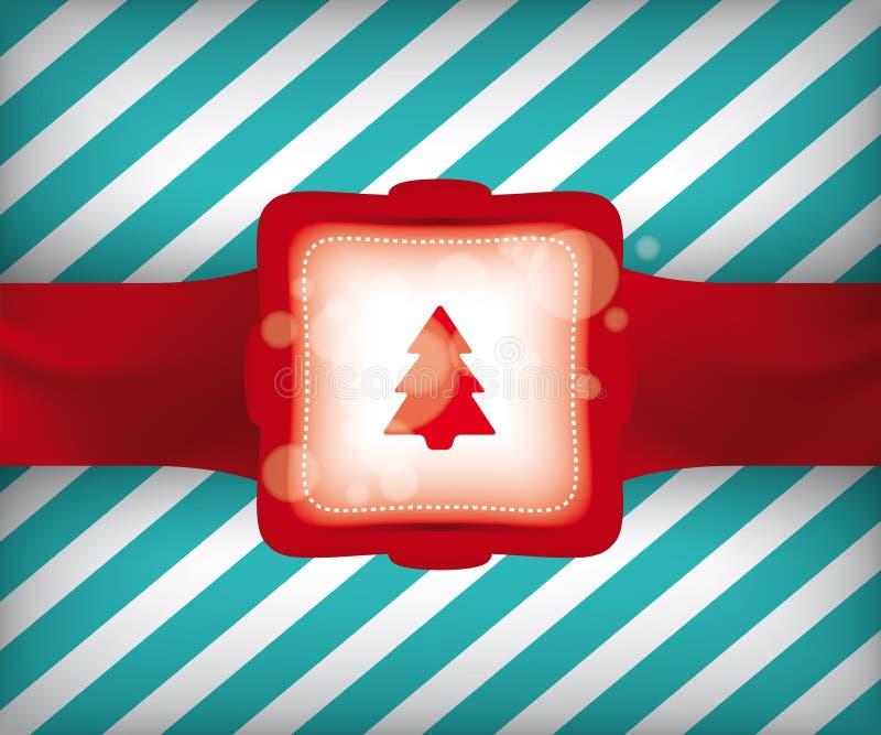 圣诞树缎带包装例证 免版税库存照片