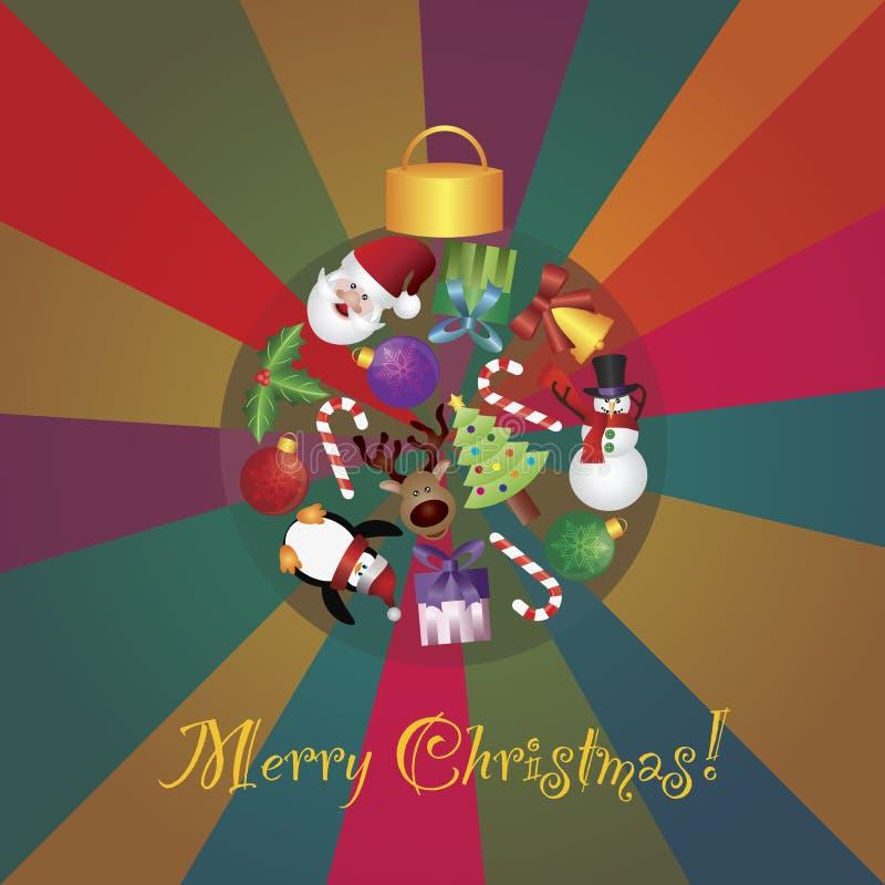 圣诞树装饰拼贴画Illustratio 皇族释放例证