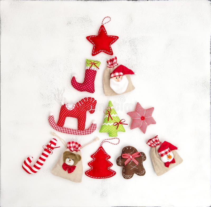 圣诞树装饰装饰礼物袋子假日backgrou 库存照片