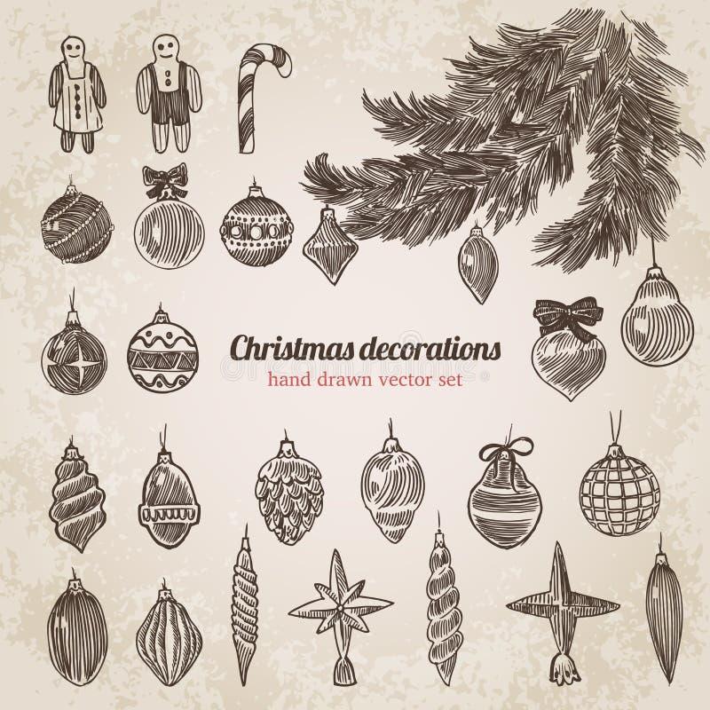 圣诞树装饰设置了手拉的样式模板 皇族释放例证