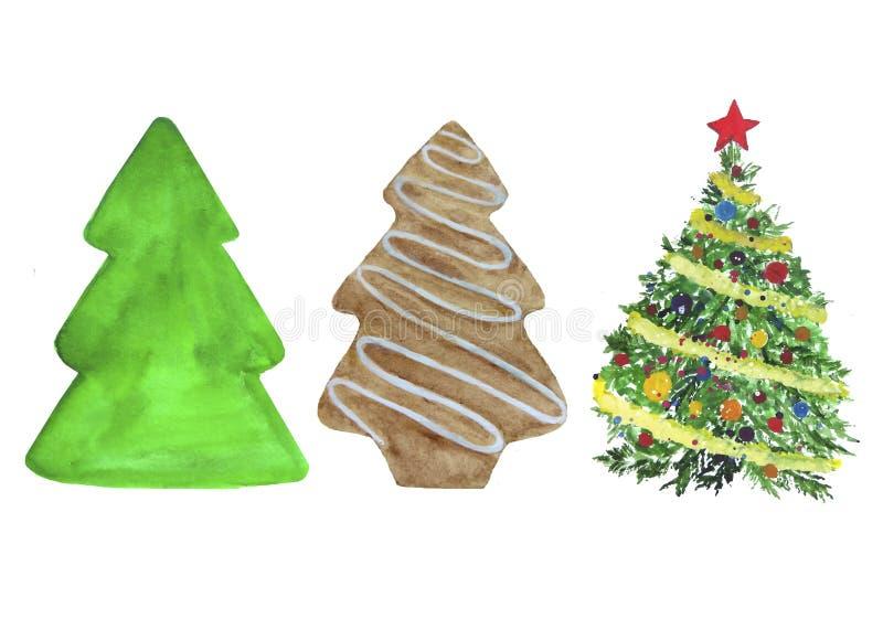 圣诞树设置了新年水彩 库存图片