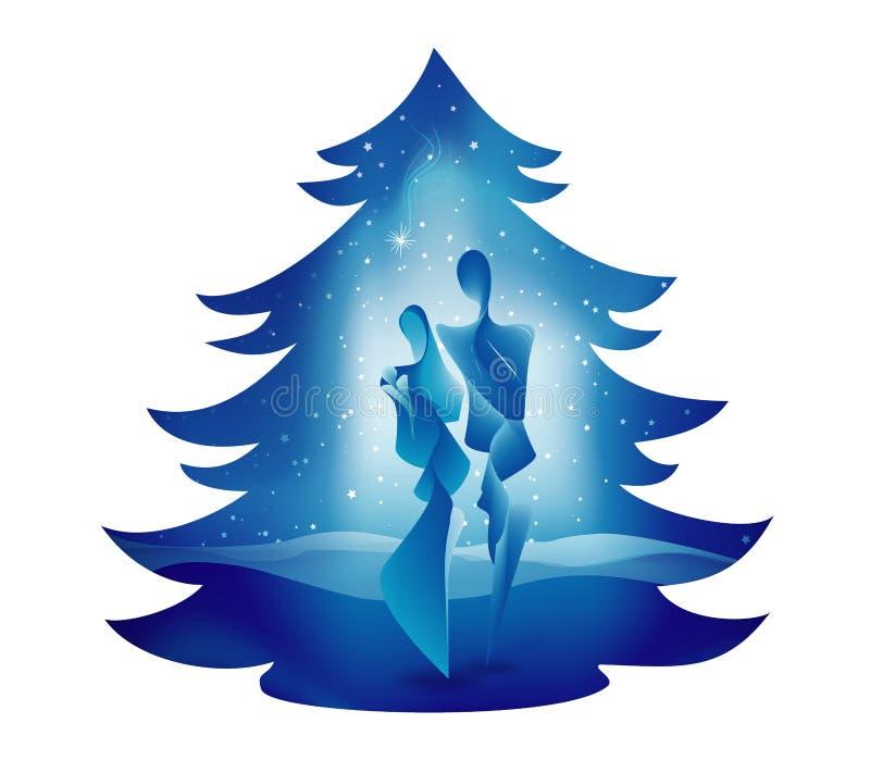 圣诞树诞生场面 在蓝色背景的圣洁家庭 伯利恒 向量例证