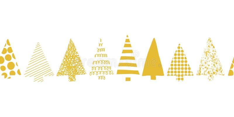 圣诞树边界 圣诞树连续导航无缝的样式 几何圣诞树现出轮廓在白色的金子 库存例证