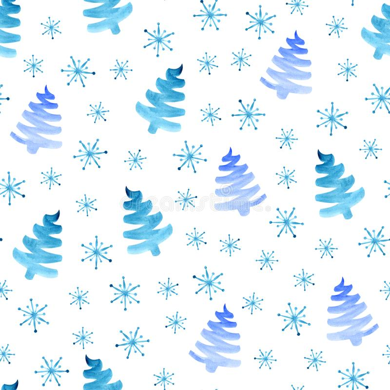 圣诞树雪花无缝的样式 皇族释放例证
