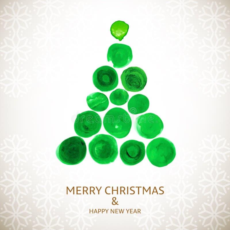 圣诞树风格化水彩卡片 库存例证