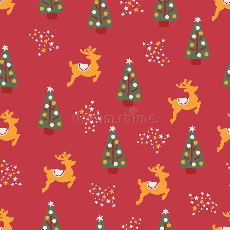 圣诞树驯鹿担任主角无缝的重复 向量例证