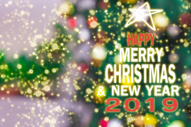 圣诞树,新年2019年,礼物,愉快,圣诞老人,计数下来 免版税库存照片