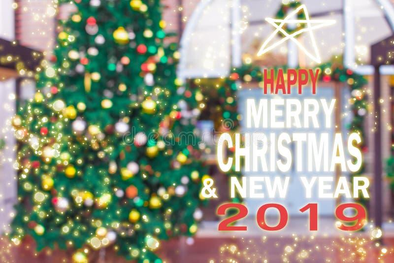 圣诞树,新年2019年,礼物,愉快,圣诞老人,计数下来 免版税库存图片