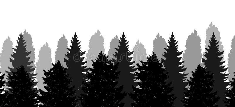 圣诞树,森林,传染媒介剪影  向量例证