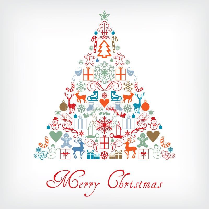 圣诞树-快活的Chrismas贺卡 库存例证